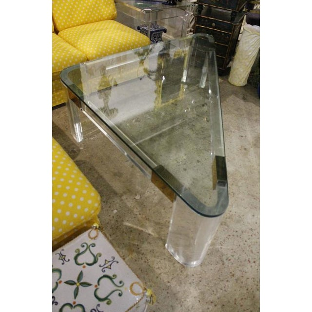 Hollywood Regency Charles Hollis Jones Lucite and Brass Triangle Coffee Table For Sale - Image 3 of 12