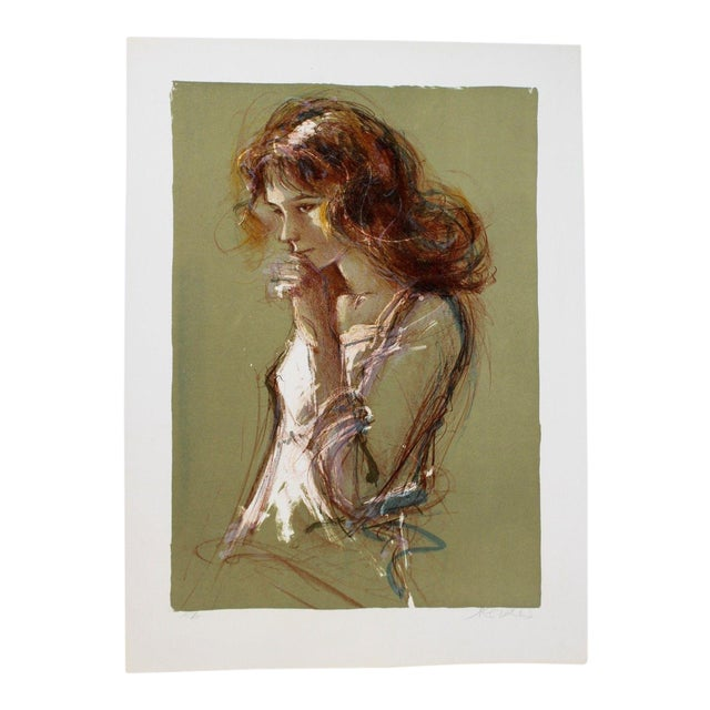 Jacques Pecnard Signed Artist Proof Print Portrait Girl Thinking For Sale