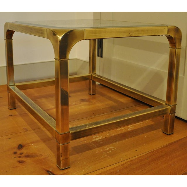 1970s 1970 Hollywood Regency Mastercraft Brass and Glass Low Profile Side Tables - a Pair For Sale - Image 5 of 11