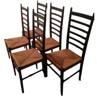 Gio Ponti-Style Ladder Back Chairs - Set of 5