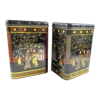Chinoiserie Lithographed Metal Canisters - A Pair