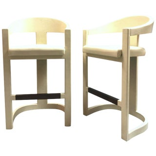Karl Springer Pair of Leather Clad Onassis Bar Stools For Sale