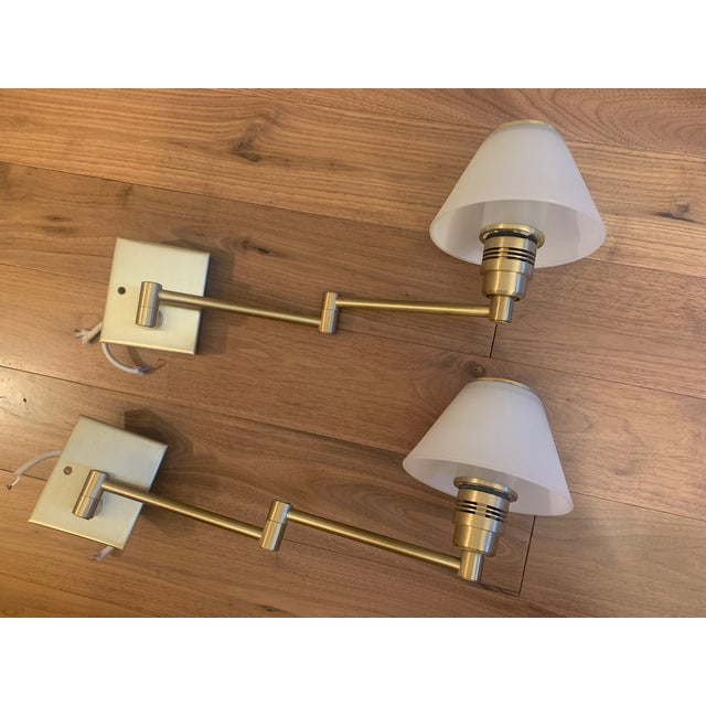 Brass 1970s Nessen Lighting Swing Arm Wall Lamps - A Pair For Sale - Image 8 of 8
