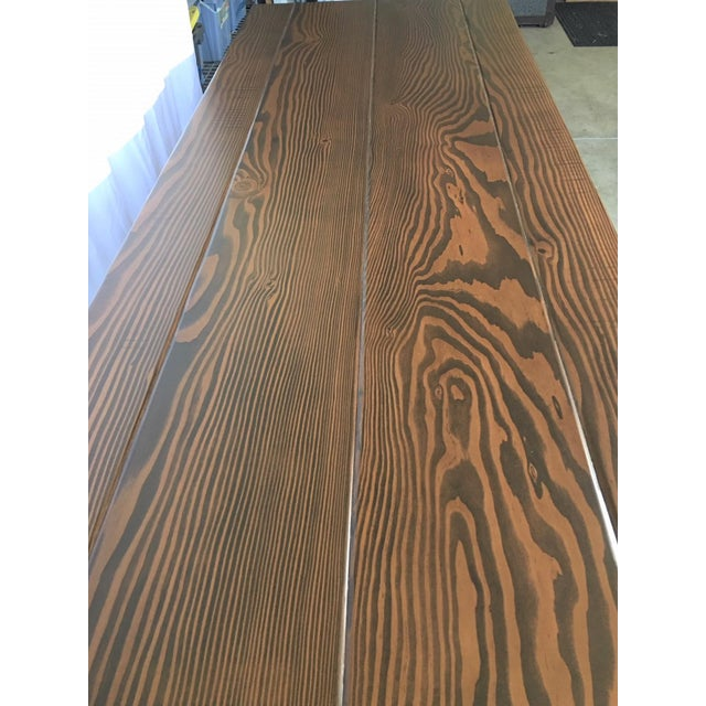 Country Handcrafted Cross Leg Trestle Douglas Fir Dining Table For Sale In San Francisco - Image 6 of 9
