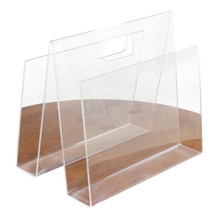 Bent Lucite Mid-Century Modern Magazine Rack For Sale