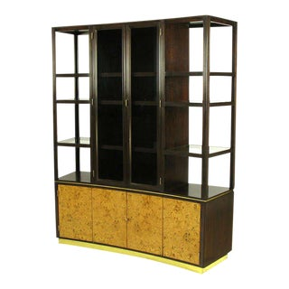 Edward Wormley Walnut & Olive Ash Burl Tall Cabinet For Dunbar For Sale