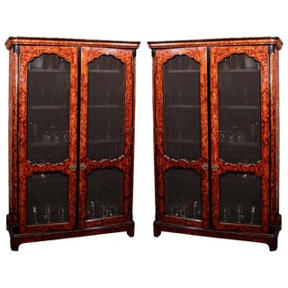 French Regence Style Faux Bois Painted Bookcases - a Pair For Sale