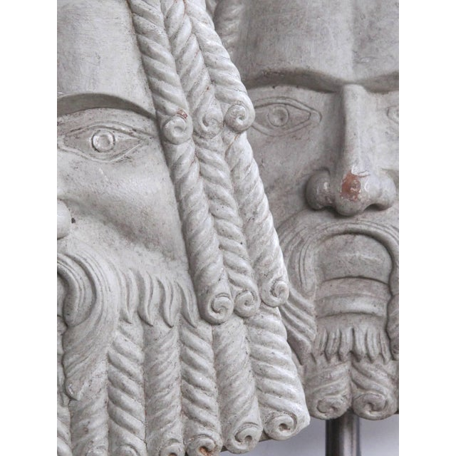 Italian Well-Carved Pair of Italian Romanesque Style Gray Painted Wooden Masks now Lamps For Sale - Image 3 of 6
