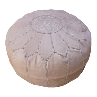 Modern Natural Tan Moroccan Handmade Leather Pouf For Sale