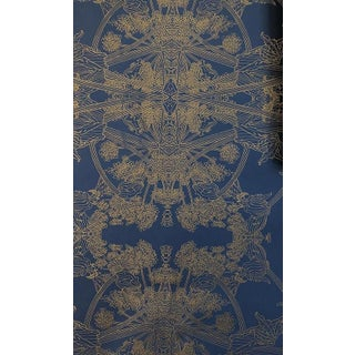 Erica Tanov Botanicus Wallpaper in Navy + Gold Leaf - 1 Roll For Sale
