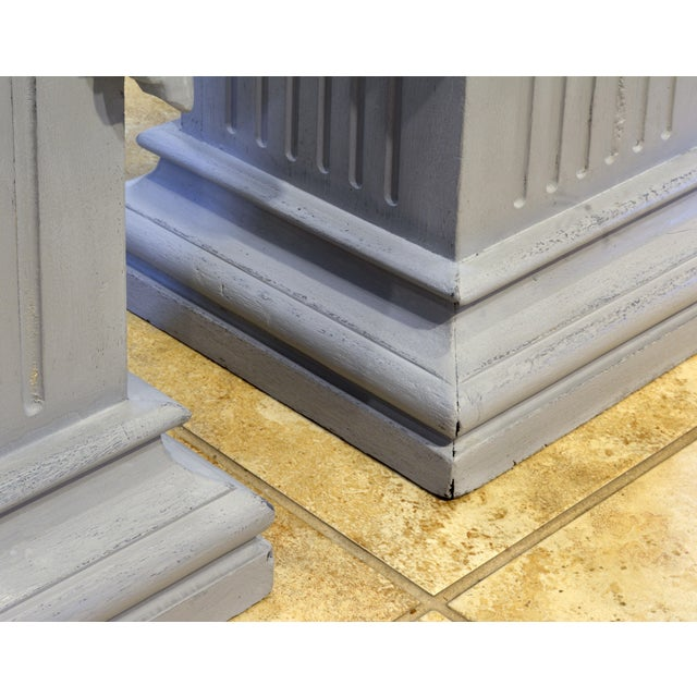 Mid 20th Century Pair of Neoclassical Carved Gray Painted Gustavian Style Marble Top Pedestals For Sale - Image 5 of 13