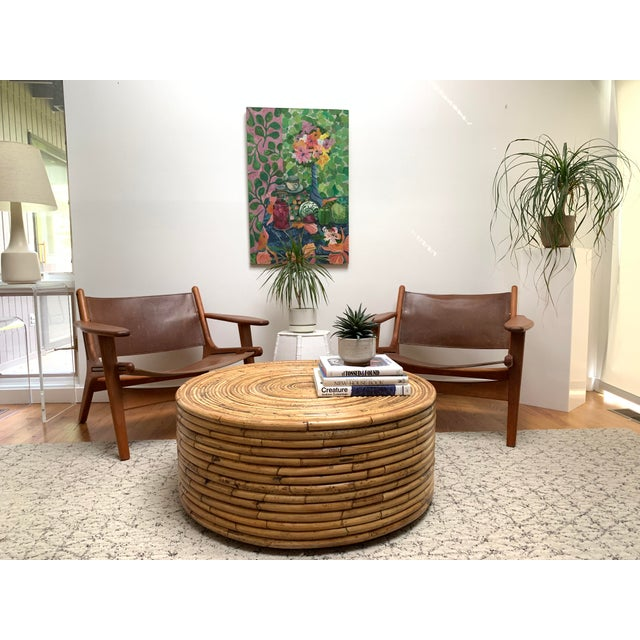 1980s Boho Chic Crespi Style Pencil Reed Rattan Cocktail Table For Sale In New York - Image 6 of 10