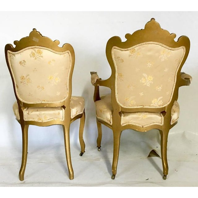 Antique French Louis XV Style Carved Gold Gilt Rolling Parlor Set - 3 Pieces - Image 5 of 10