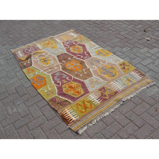 Islamic Vintage Turkish Kilim Rug - 3′11″ × 6′1″ For Sale - Image 3 of 11