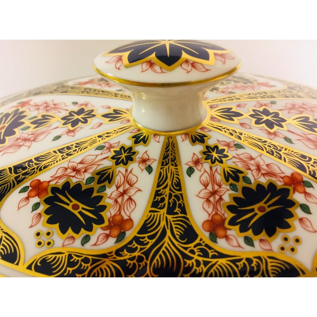 Metal Royal Crown Derby Covered Vegetable Dish in Old Imari Pattern For Sale - Image 7 of 12