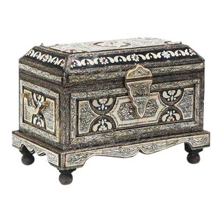 1980s Moorish Camel Bone Inlaid Black and White Chest With Copper Finish For Sale