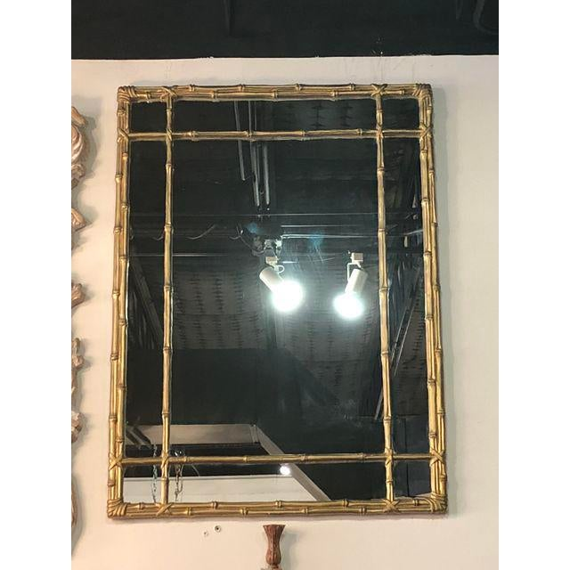 Vintage Faux Bamboo Gold Wall Mirror For Sale - Image 9 of 10