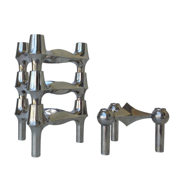 Mid-Cenutry Fritz Nagel & Ceasar Stoffi Chrome-Plated Modular Candleholders - S/4 For Sale