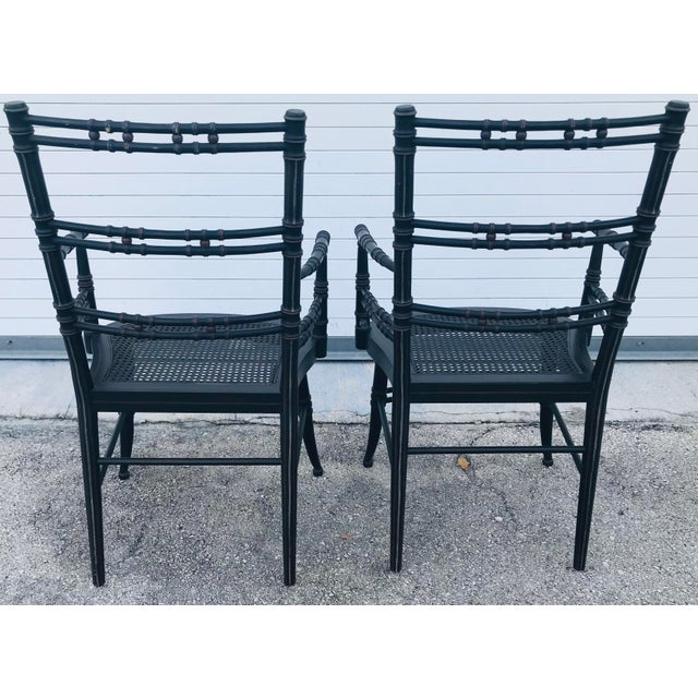 Allesandro for Baker Furniture Vintage Baker Furniture Faux Bamboo Chairs - a Pair For Sale - Image 4 of 11