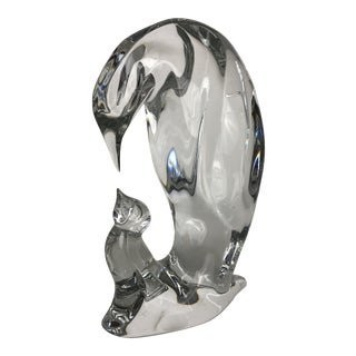 Baccarat Glass Penguin With Baby For Sale
