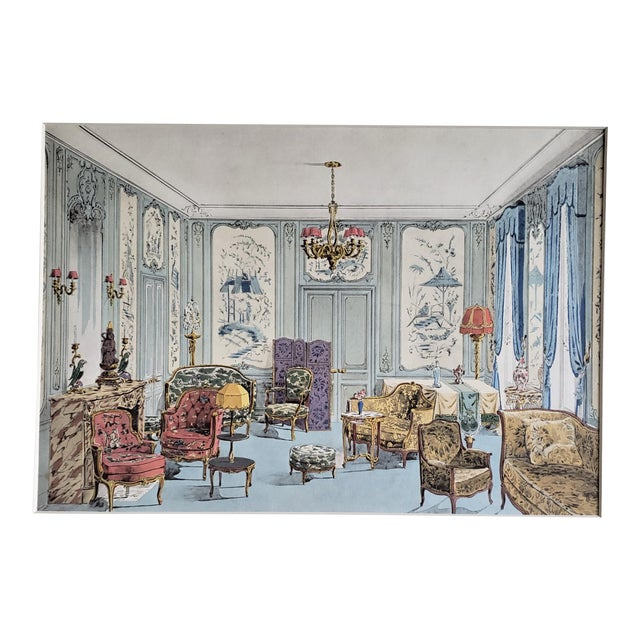 Matted 1925 French Interior Furniture Lithograph For Sale