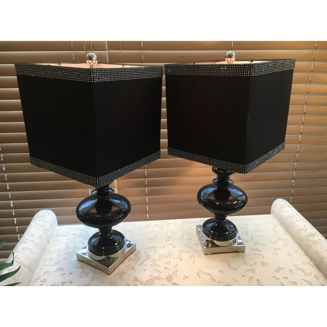 Black Ceramic Table Lamps - A Pair - Image 3 of 4