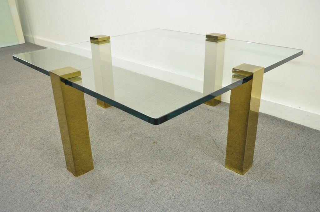 The Brass Collection Modern Floating Glass U0026 Brass Coffee Table Pace Style  Vtg   Image 2