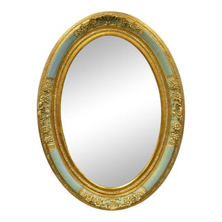 French Louis XV Victorian Green Gold Gilt Beveled Glass Oval Mirror by Uttermost For Sale