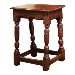 19th Century French Louis XIII Carved Chestnut Country Stool From Normandy For Sale