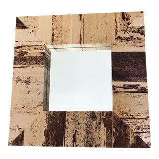 Wood Grain Canvas Decor Wall Mirror