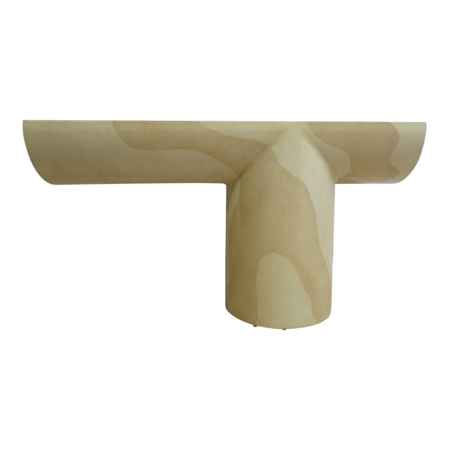 Vintage Karl Springer Style Goat Skin Cantilever Console Table - Image 1 of 11