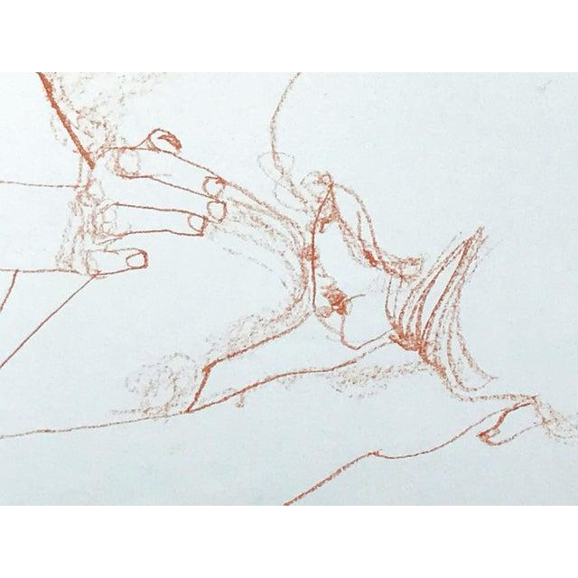 Conté Vintage Bohemian Sanguine Drawing of Nude Couple For Sale - Image 7 of 8