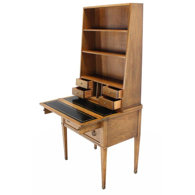 Traditional Transitional Baker Modern Petite Secretary With Bookcase on Slim Legs For Sale - Image 3 of 10