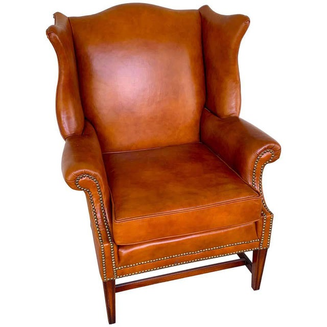 English Saddle Leather Mahogany Wingback Chair For Sale - Image 9 of 9