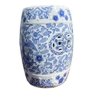 Vintage Chinese Blue & White Ceramic Garden Stool For Sale