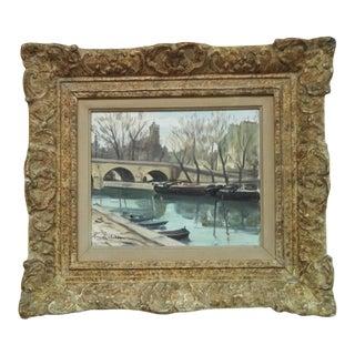 Vintage French Mid-Century Modern Le Pont Marie, Et l'Elise St. Gervais-Paris Oil Painting by Claude Chereau For Sale