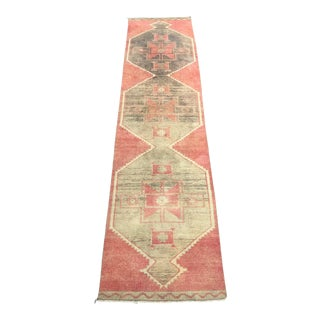 "Vintage Turkish Wool Runner-3'x12'8"" For Sale"