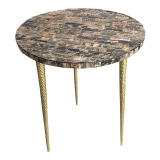 Contemporary Buffalo Horn Top Texture Side Table For Sale