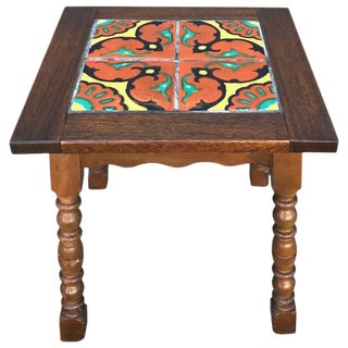 Taylor Tilery Spanish Tile Mahogany Side Table