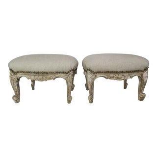 19th C. French Painted Benches/Footstools, Pair For Sale