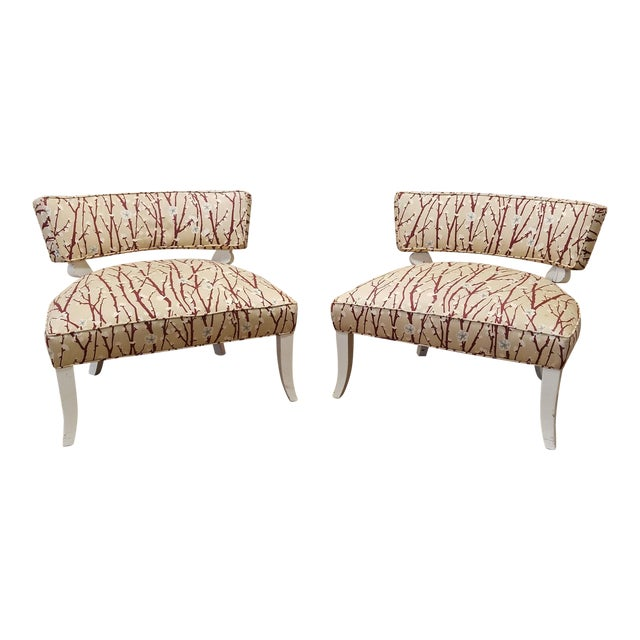 1950s Vintage Mid-Century Modern James Mont Upholstered Slipper Chairs - a Pair - Image 1 of 10