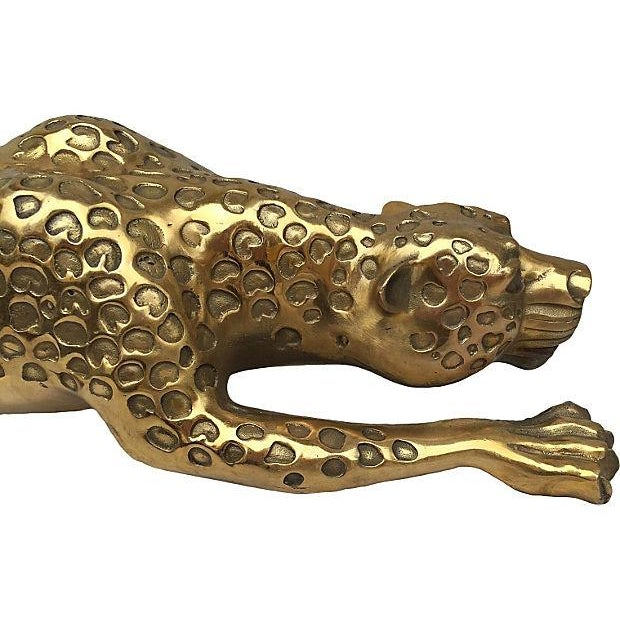 Mid-Century Brass Jaguar Statue - Image 4 of 5