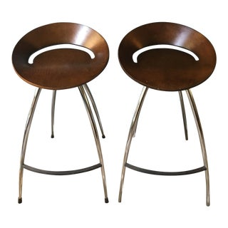 Mid-Century Chrome & Wood Barstools - A Pair