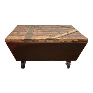 **Final Price** Industrial Copper Reclaimed Lumber Coffee Table on Casters