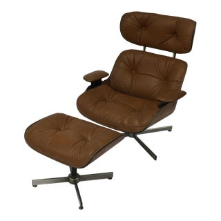 Selig Mid-Century Modern Eames Style Lounge Chair & Ottoman Set