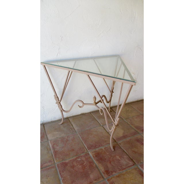 Vintage Mediterranean Wrought Iron and Glass Tall OutDoor Table Bar For Sale - Image 12 of 13