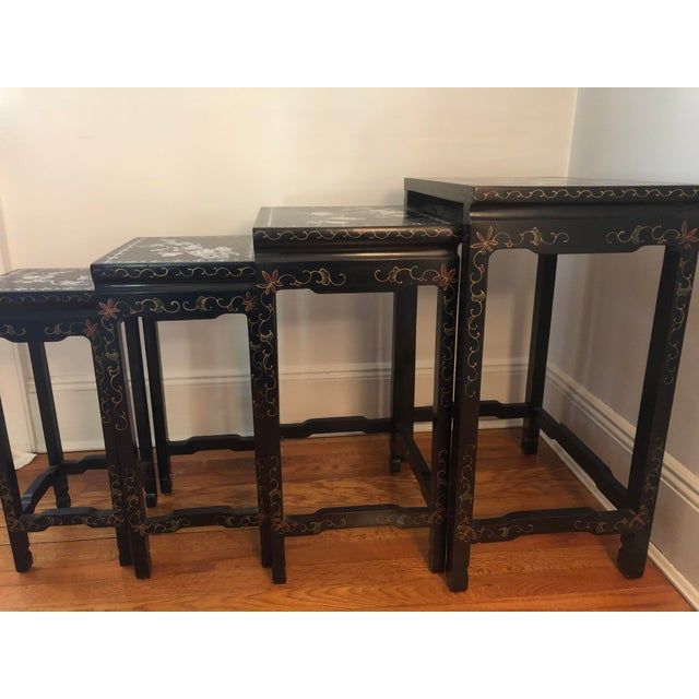 Mid Century Asian Black Lacquer Nesting Tables - Set of 4 For Sale In New York - Image 6 of 13