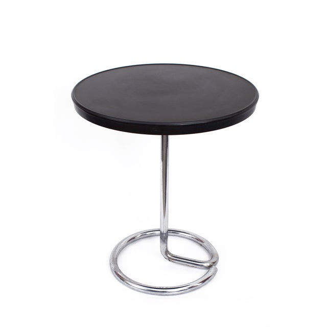 1930s 1930s Stablet French Minimalist Round Bakelite and Chromed Steel Table For Sale - Image 5 of 5