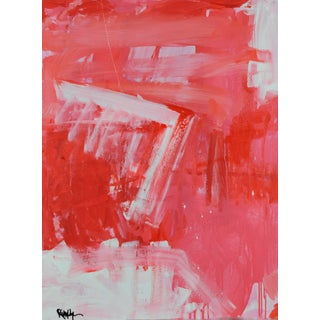 """Robbie Kemper """"White Angle Pink Orange"""" Abstract Acrylic Painting For Sale"""