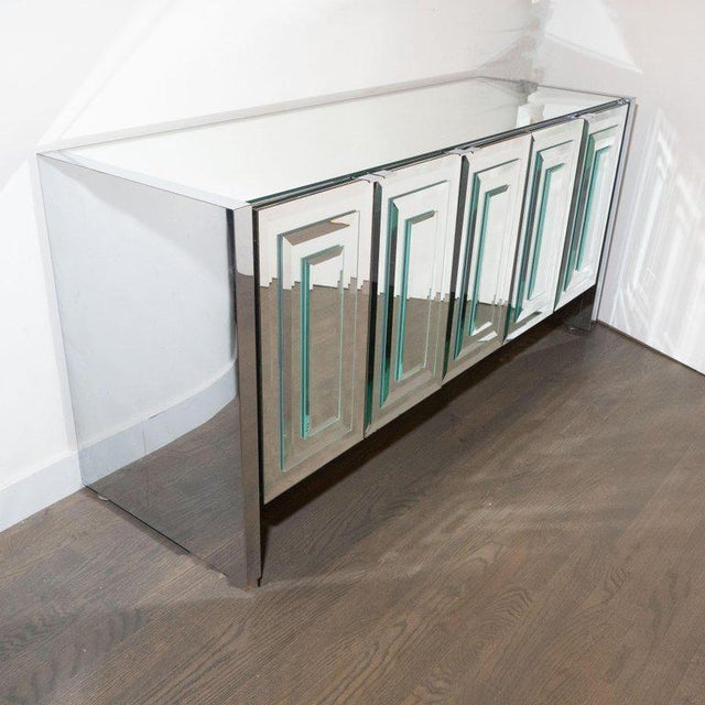 1970s Mid-Century Modern Mirrored and Chrome Sideboard by Ello For Sale - Image 5 of 10